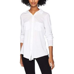 MICHAEL STARS Jersey Button Down Top White NWOT